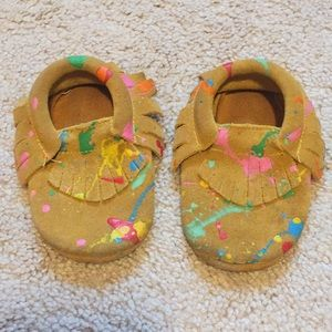 Shoes - Toddler Leather Moccasins - Paint splatter